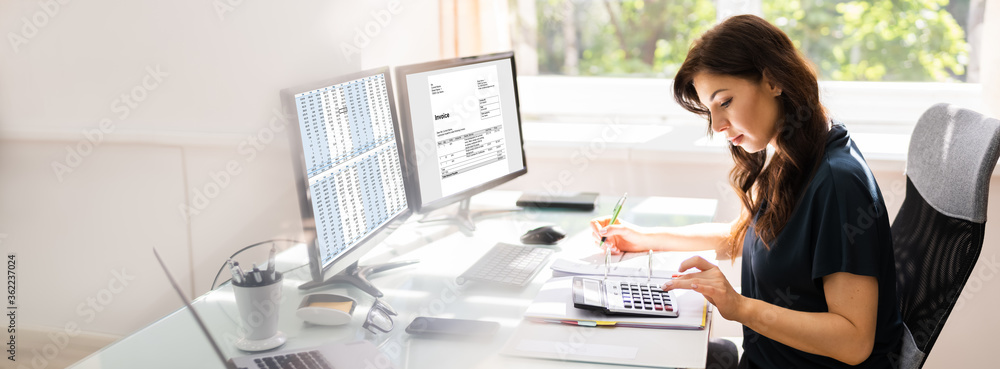 Fototapeta Accountant Using E Invoice Software At Computer