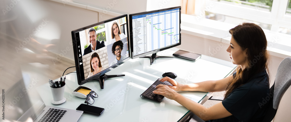 Fototapeta Online Video Conference Learning Call