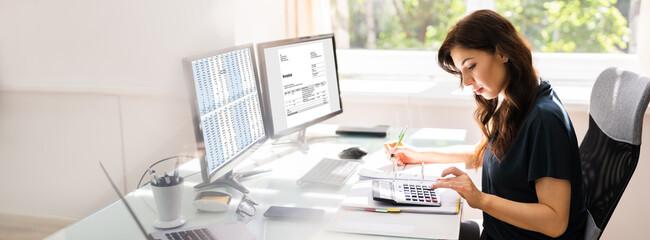 Obraz na płótnie Canvas Accountant Using E Invoice Software At Computer