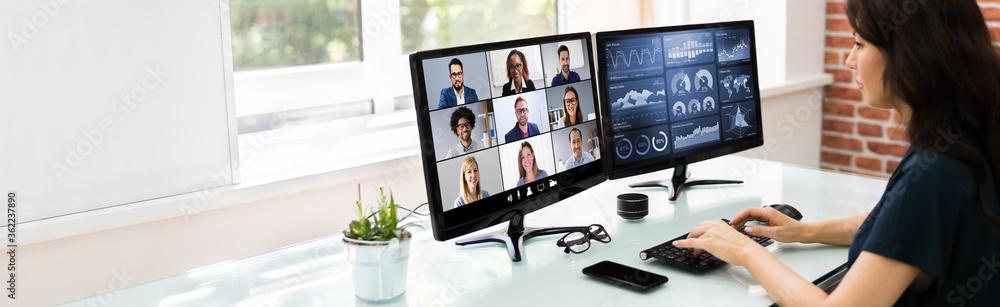 Fototapeta Watching Online Video Conference Meeting