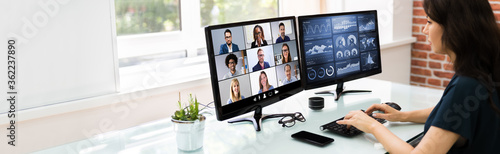 Watching Online Video Conference Meeting - 362237890