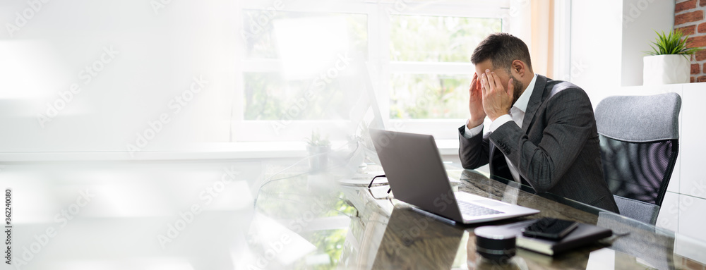 Fototapeta Stressed Man With Migraine And Headache