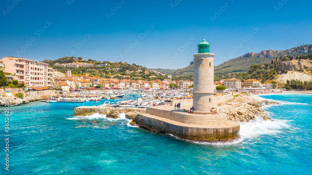 Fototapeta Panoramic view of the fishing village of Cassis near Marseille, Provence, South France, Europe, Mediterranean sea