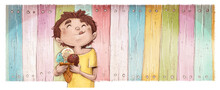 Boy Eating Ice Cream With Colorful Fence