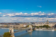 View on Chain bridge from Buda in Budapest
