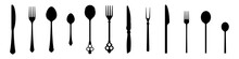 Cutlery Vector Silhouettes, A ...