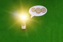 A Light Bulb, An Oval For Text...