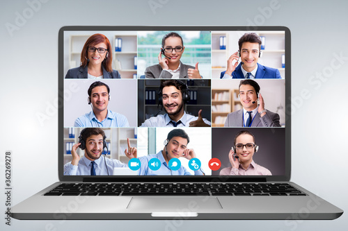 Concept of virtual collaboration through videoconferencing Canvas Print