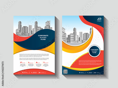 Brochure design, cover modern layout, annual report, poster, flyer in A4 with co Canvas Print