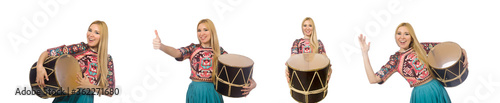 Fotografia Woman with drum isolated on white