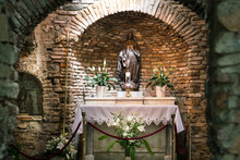 The House Of The Virgin Mary (Meryemana). It Is Believed To Be The Last Home Of Mary, Mother Of Jesus. A Place Of Visit For Believers From All Over The World. Ephesus, Izmir TURKEY