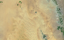 Satellite Image Of Crops And Mountains In The Desert Of Sonora Mexico. Generated From Images Of The Satellite Sentinel.
