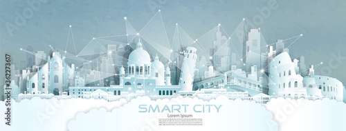Technology wireless network communication smart city with architecture in England Fotobehang