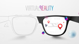 Fototapeta Łazienka - Smart Glasses with Map and Red Pinpoint on Screen. VR virtual reality and AR augmented reality technology. Vector Illustration