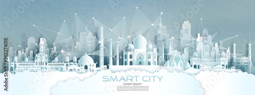 Photo Technology wireless network communication smart city with architecture in India