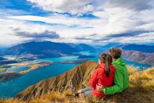 New Zealand Hiking Couple On M...
