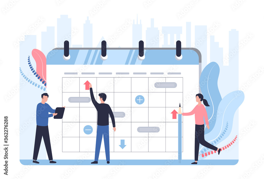 Fototapeta Schedule statistics concept. A team of analysts plans a working week a month, analyzes sales. A man with a tablet, a woman with a pencil stand against backdrop of cityscape. Flat vector illustration