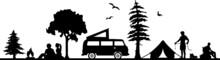 Caravan Nature Outline Vector Silhouette