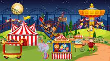 Amusement Park Scene At Night ...