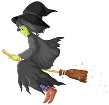 Witch Rides Broomstick Isolate...