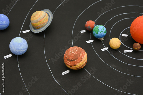 Fototapety, obrazy: Kids presenting their science home project at school - chart showing the planets of our solar system prepared for education purpose for students.