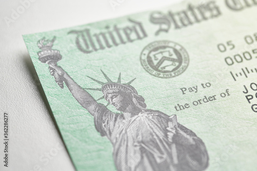 United States government stimulus check for covid-19 and  unemployment relief 20 Fototapet