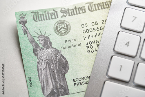 United States government stimulus check for covid-19 and  unemployment relief 20 Wallpaper Mural