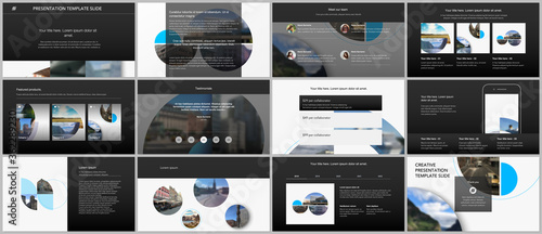 Photo Presentation design vector templates, multipurpose template for presentation slide, flyer, brochure cover design with abstract circle banners