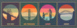 Most Famouse Bridges Poster Set. Golden Gate, Harbour Bridge, Brooklyn Bridge, Tower Bridge Vintage Style Colors