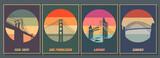 Fototapeta Nowy Jork - Most Famouse Bridges Poster Set. Golden Gate, Harbour Bridge, Brooklyn Bridge, Tower Bridge Vintage Style Colors