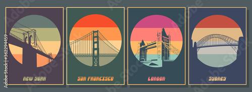 Most Famouse Bridges Poster Set Wallpaper Mural