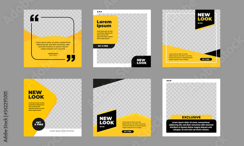 Obraz Set of Editable minimal square banner template. Black and yellow background color with stripe line shape. Suitable for social media post and web internet ads. Vector illustration with photo college - fototapety do salonu