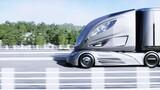 Fototapeta Miasto - 3d model of futuristic electric truck on highway. Future city background. Electric automobile. 3d rendering