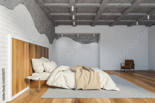Fototapeta Brick and stone loft master bedroom obraz