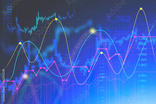 Futuristic financial interface and stock chart Fotobehang