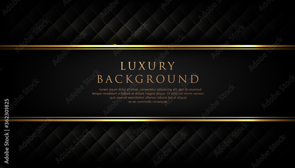 Fototapeta Luxury black stripe with gold border on the dark background. VIP invitation banner. Premium and elegant. Vector illustration.