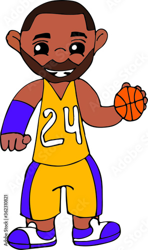 Photo Hand drawn portrait of a basketball player Kobe Bryant