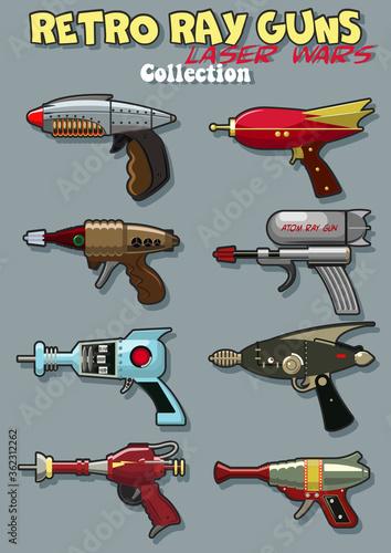 Mid Century Modern Retro Future Style Laser Guns, Fantastic Space Blasters Canvas Print