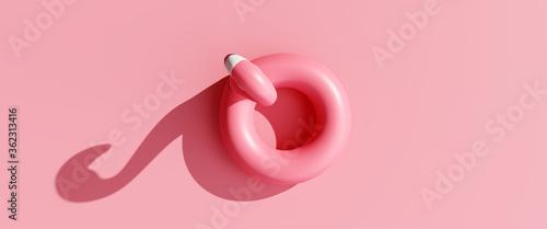 Fototapeta Top view flamingo floating on pink background. 3d rendering obraz