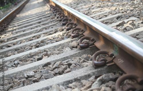 Obraz na plátně photo railroad track in Jakarta