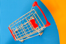 Empty Grocery Cart . Photo Close-up