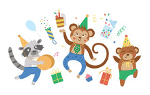 Cute Party Animals Jumping Wit...