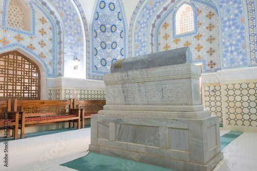 Stampa su Tela Sheikh Shamsiddin Kulol Mausoleum at Dorut Tilavat Complex in Shakhrisabz, Uzbekistan