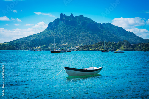 Single wooden rowboats moored in calm waters of the bay on a summer day Fototapet