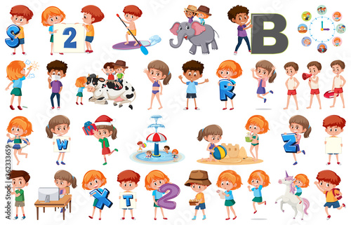 Large set of children doing different activities on white background