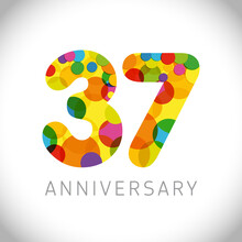 37 Th Anniversary Numbers. 37 Years Old Multicolored Congrats. Cute Congratulation Concept. Isolated Abstract Graphic Design Template. Age Digits. Up To 37%, -37% Percent Off Discount. Decorative Sign