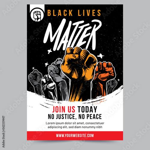 Valokuvatapetti Black Lives Matter Raised Fist Flyer Design