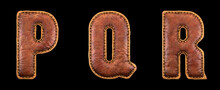 Set Of Leather Letters P, Q, R Uppercase. 3D Render Font With Skin Texture Isolated On Black Background.
