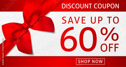 Fototapeta Discount coupon with big red bow (ribbon) in the corner and sale text: up to 60% off on white background. Holiday template useful for any promotion design, shopping sale card, voucher or gift card obraz