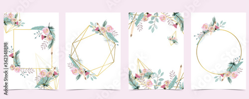 Fotografia Geometry pink gold wedding invitation card with rose,leaf,wreath,feather and fra